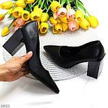 Оригинальные туфли женские черные эко кожа на каблуке 8,5 см, фото 8