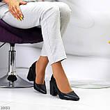Оригинальные туфли женские черные эко кожа на каблуке 8,5 см, фото 9