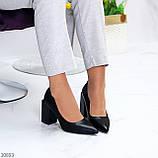 Оригинальные туфли женские черные эко кожа на каблуке 8,5 см, фото 10