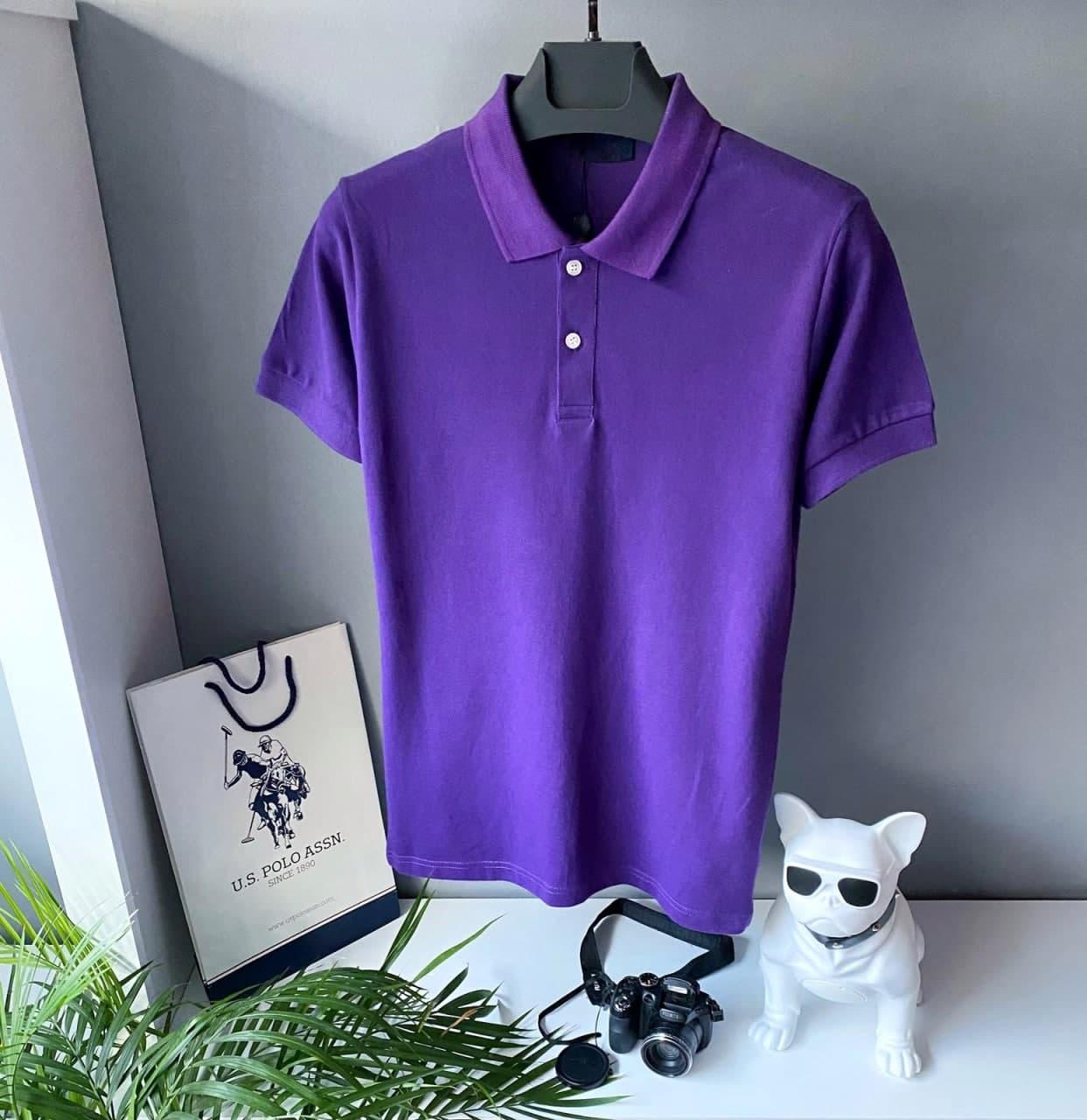 Чоловіче літнє фіолетове поло. Стильна чоловіча літня футболка.