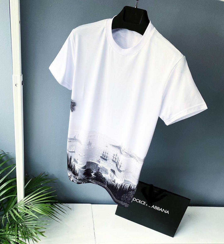 Мужская летняя белая футболка oversize. Стильная мужская летняя футболка.