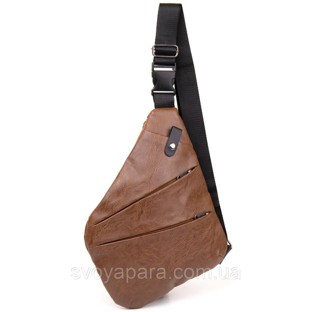 Сумка слинг кожзам Vintage 20567 Светло-коричневая