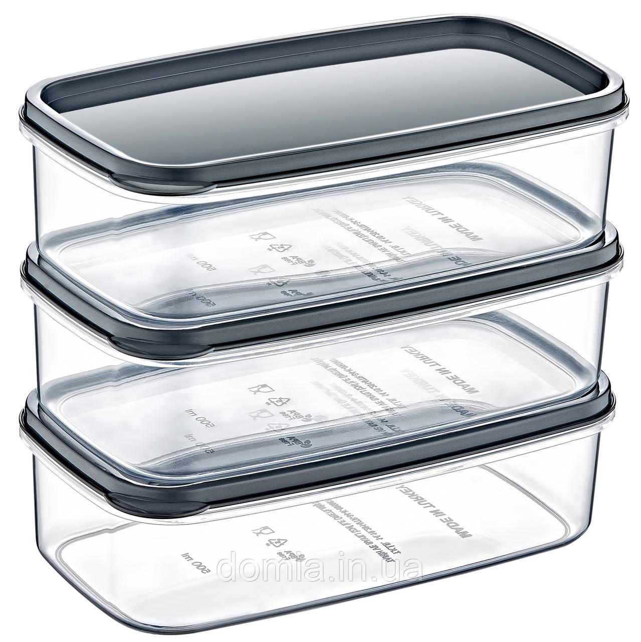 Набір 3-предметний контейнерів харчових прямокутних 0.5 л AKAY plastik, Туреччина