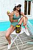 Модный раздельный трикотажный купальник с топом и высокой талией, фото 4