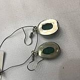 Серьги с камнем изумруд индийский в серебре. Индия., фото 4