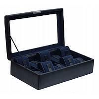 Шкатулка для хранения часов Friedrich Lederwaren Bond 10, черно-синий