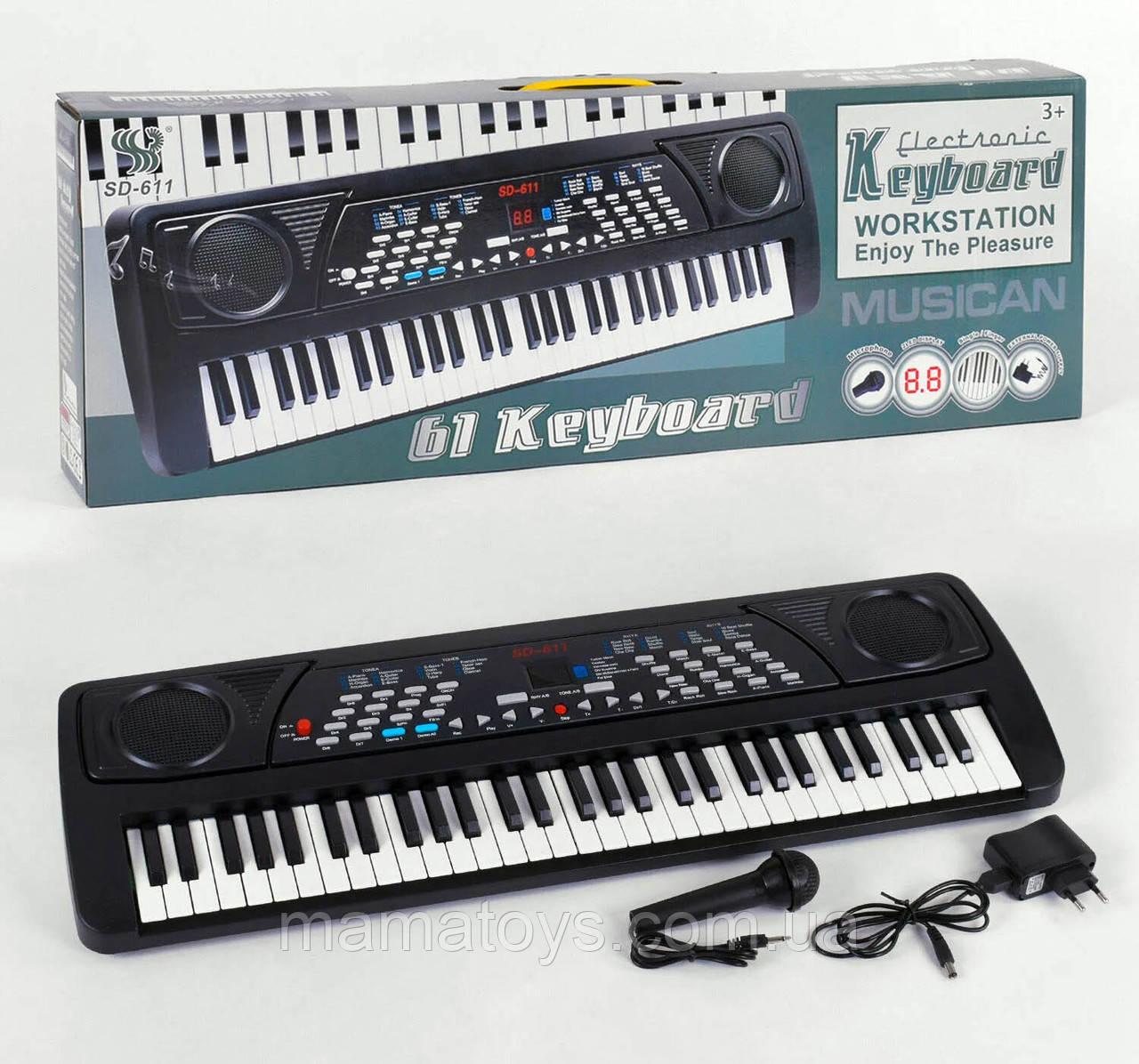 Синтезатор Синтезатор Піаніно SD 611 Мікрофон 61 клавіша, 63 см