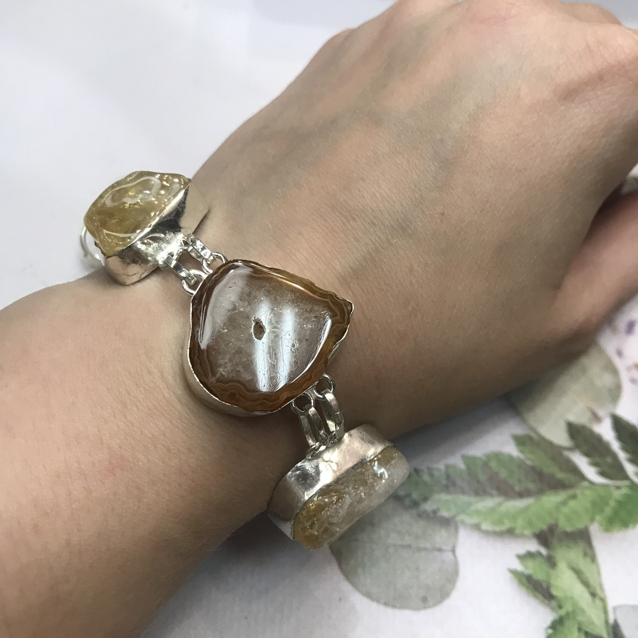 Цитрин агат перли браслет з натури агатом цитрином і бароковим перлами браслет з каменем цитрин в сріблі Індія