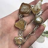 Цитрин агат перли браслет з натури агатом цитрином і бароковим перлами браслет з каменем цитрин в сріблі Індія, фото 2