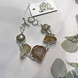 Цитрин агат перли браслет з натури агатом цитрином і бароковим перлами браслет з каменем цитрин в сріблі Індія, фото 3