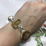 Цитрин агат перли браслет з натури агатом цитрином і бароковим перлами браслет з каменем цитрин в сріблі Індія, фото 6