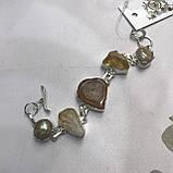 Цитрин агат перли браслет з натури агатом цитрином і бароковим перлами браслет з каменем цитрин в сріблі Індія, фото 7