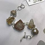 Цитрин агат перли браслет з натури агатом цитрином і бароковим перлами браслет з каменем цитрин в сріблі Індія, фото 4
