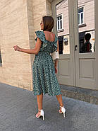 Женское платье длиною миди, без рукавов, со сборкой на груди, фото 3