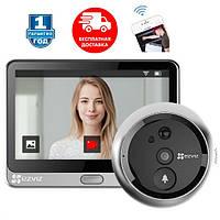 Беспроводной дверной умный видеоглазок-камера для входной двери с датчиком движения, монитором и Wifi Ezviz