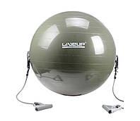 М'яч для фітнесу LiveUP з еспандером 65 см Green (LS3227)