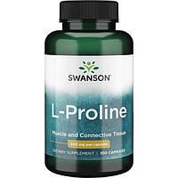 L-пролин, Swanson, L-Proline, 500 мг, 100 капсул