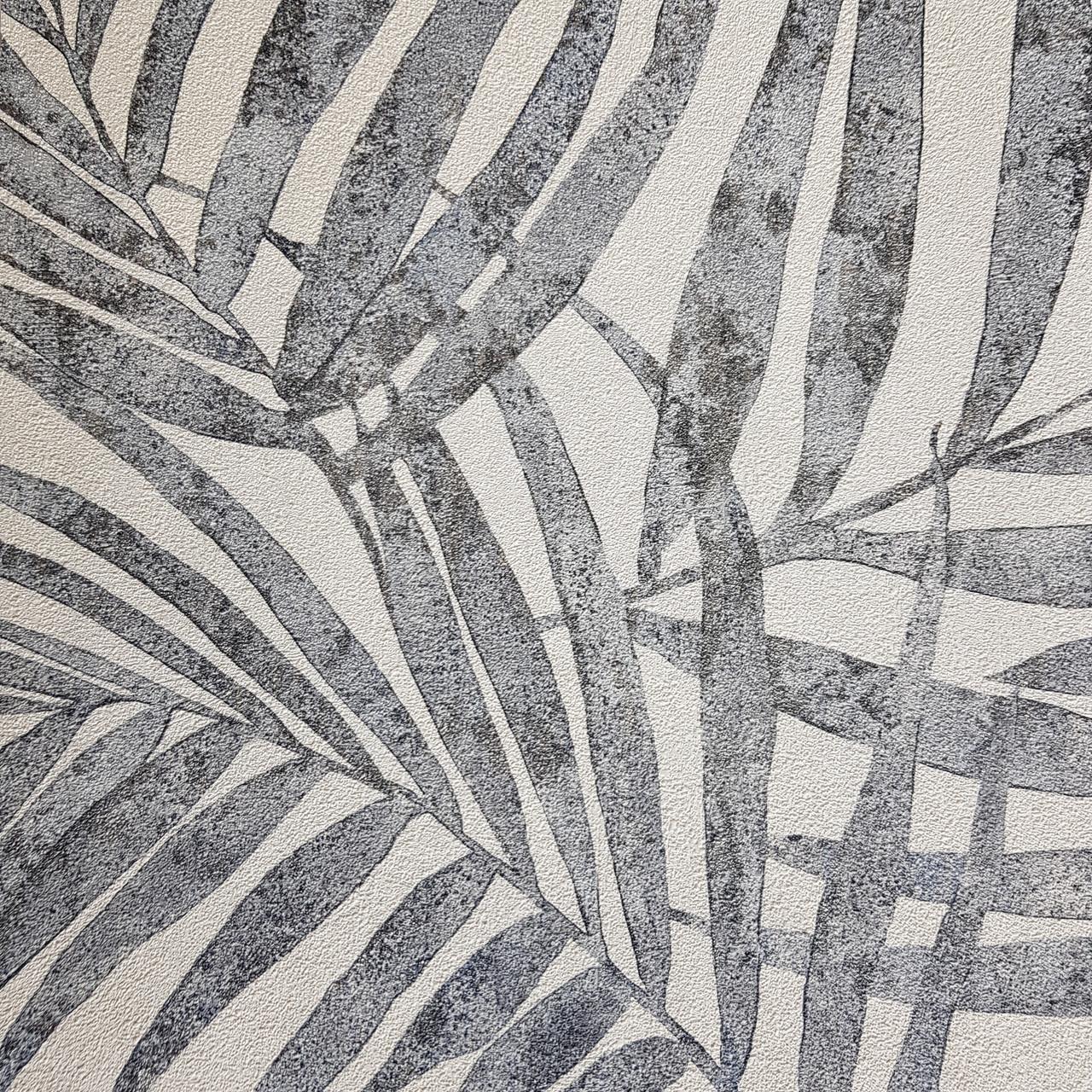 Обои виниловые на флизелиновой основе Rasch Linares 0.53х10 м папоротник листья серые серебристые на белом