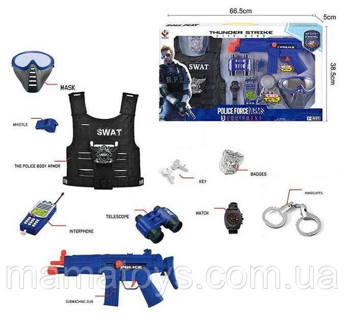 Игровой Набор полицейского P 013 B Маска, Жилет, автомат, наручники