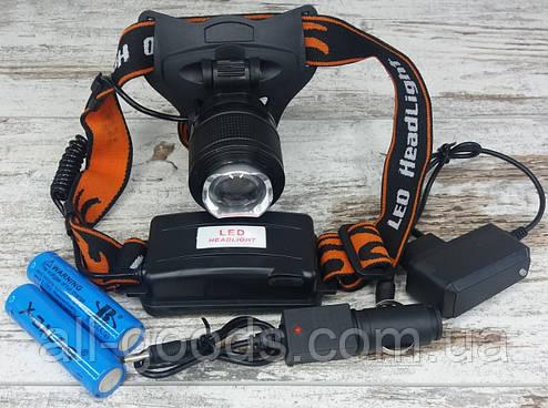Акумуляторний багатофункціональний налобний ліхтар X-Balog BL-2199-T6. Потужний світлодіодний ліхтарик., фото 2