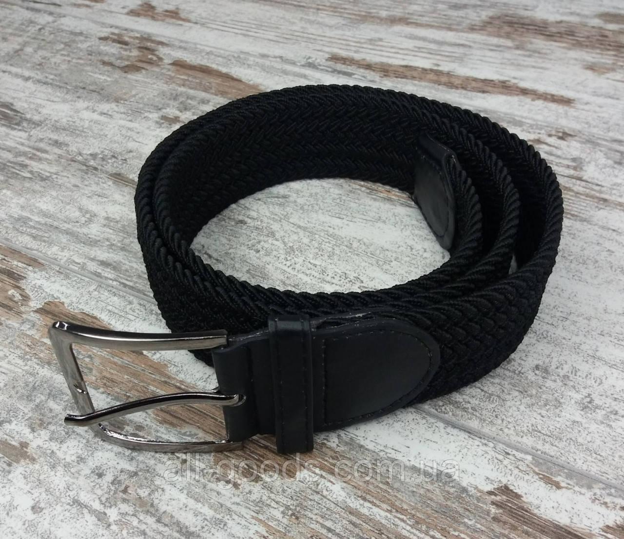Універсальний плетений ремінь гумка 40 мм чорний, оригінальний модний текстильний ремінь
