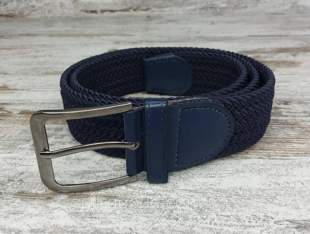 Универсальный плетенный ремень резинка 40 мм синий, оригинальный модный текстильный ремень