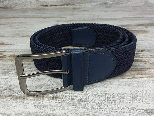 Универсальный плетенный ремень резинка 40 мм синий, оригинальный модный текстильный ремень, фото 2