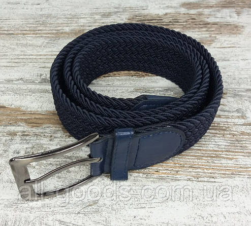 Универсальный плетенный ремень резинка 35 мм синий, оригинальный модный текстильный ремень, фото 2