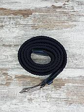 Універсальний плетений ремінь гумка 35 мм синій, оригінальний модний текстильний ремінь, фото 2