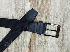 Універсальний плетений ремінь гумка 35 мм синій, оригінальний модний текстильний ремінь, фото 3