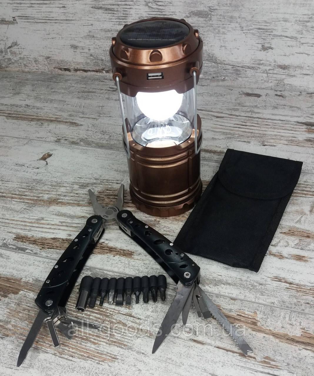 Кемпинговый складной фонарь G-85 в комплекте с многофункциональным ножом мультитул-плоскогубцы (728)