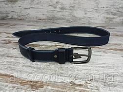 Якісний шкіряний чоловічий джинсовий ремінь гладкий 40 мм, міцний оригінальний модний ремінь (синій), фото 3