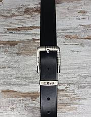Качественный кожаный мужской джинсовый ремень BOSS черный, прочный оригинальный модный ремень, фото 3