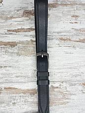 Якісний шкіряний чоловічий джинсовий ремінь 129 см чорний, міцний оригінальний модний ремінь, фото 3