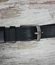 Якісний шкіряний чоловічий джинсовий ремінь 129 см чорний, міцний оригінальний модний ремінь, фото 2
