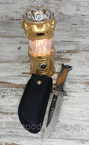 LED лампа з ефектом вогню і діскошар SX-6888T в комплекті зі складним мисливським ножем Colunbia КА3188 /, фото 2