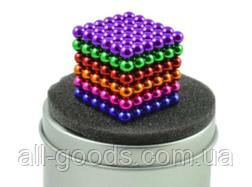Неокуб Neocube різнокольоровий 216 кульок 5мм в металевому боксі. Магнітний конструктор антистрес неокуб., фото 2