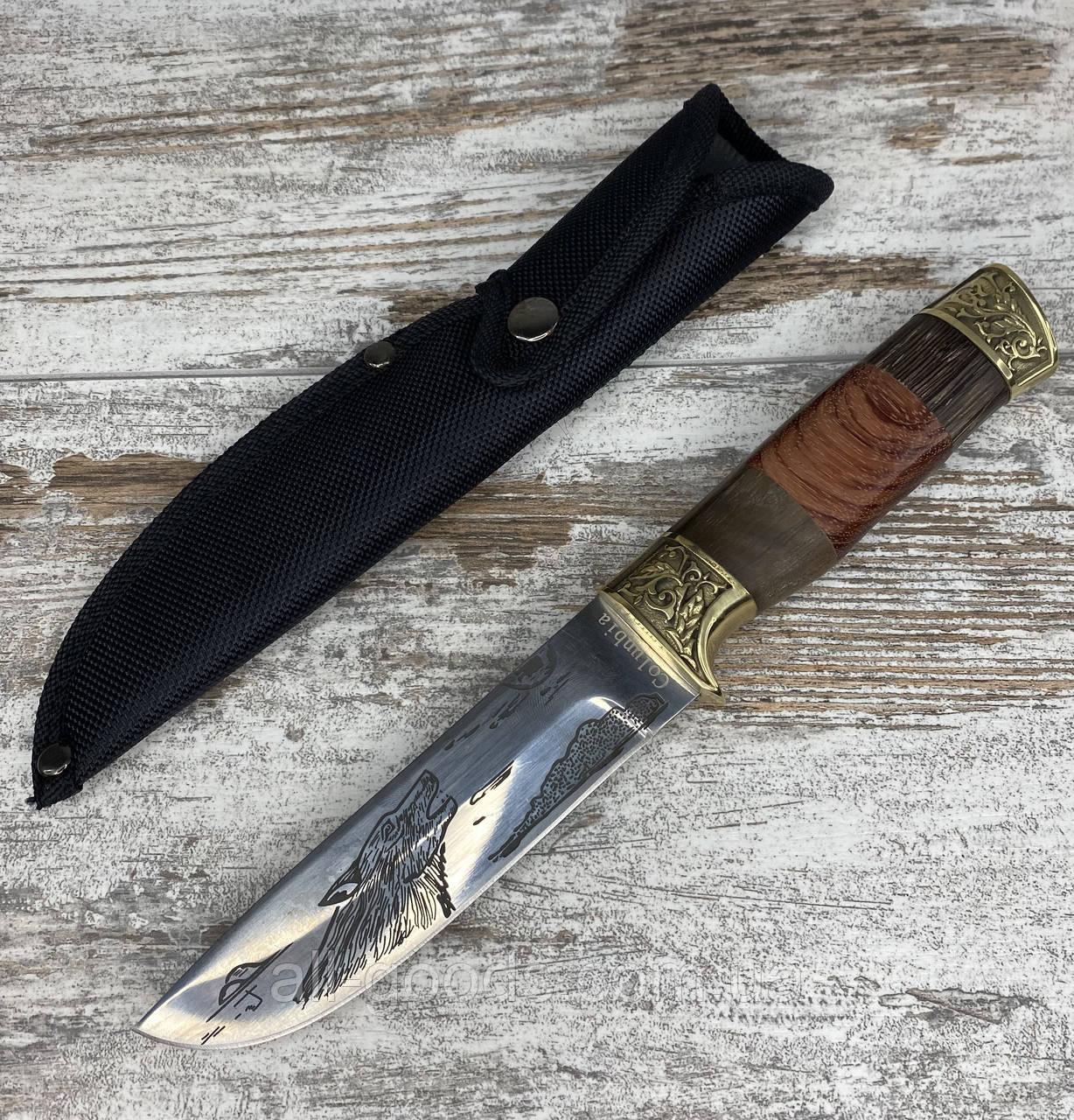 Охотничий нож 26 см Colunbir АК-205. Нож для охоты, рыбалки и туризма. Нож для выживания. Нож с гравировкой.