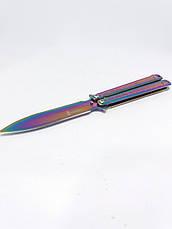Ніж метелик або балісонг 21,5 см АК-56 градієнт. Складаний ніж-метелик. Балісонг з кс го cs go fade, фото 2