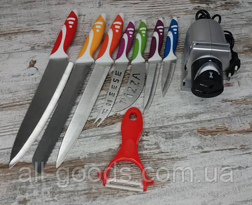Електрична точилка для заточування ножів Sharpener electric в комплекті з набором кухонних ножів з 8 предметів, фото 2