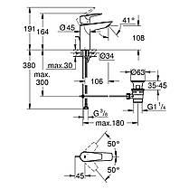 Змішувач для раковини Grohe BauEdge New M-Size 23758001, фото 2