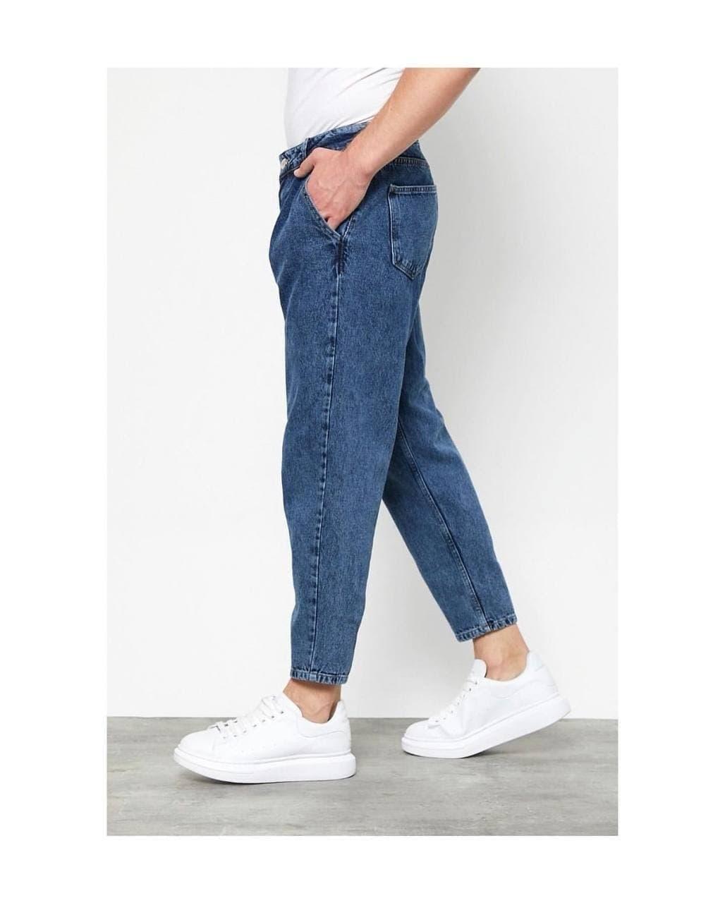 Мужские джинсы зауженные книзу (синие) качественные молодежные s3022