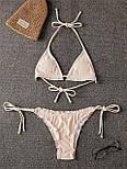 Женский раздельный купальник с треугольными чашками шторками и плавками на завязках (р. S, M) 7825914, фото 8