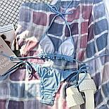 Женский раздельный купальник с треугольными чашками шторками и плавками на завязках (р. S, M) 7825914, фото 7