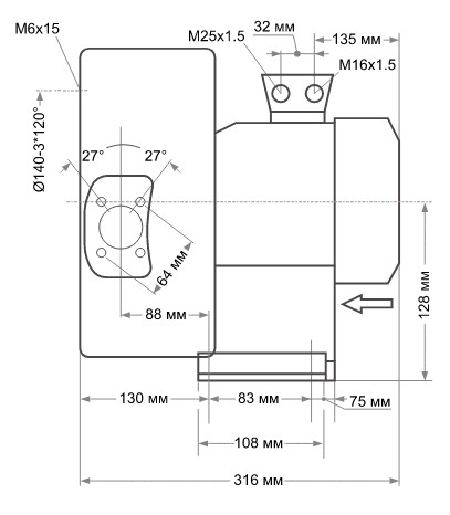 Габаритні розміри Grino Rotamik SKS 80 2VM.B