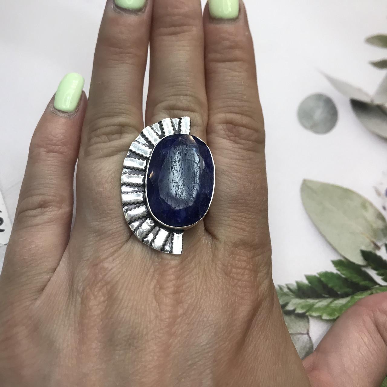 Сапфір кільце 18 розмір кільце з каменем натуральний сапфір в сріблі кільце з сапфіром.