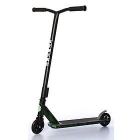 Дитячий трюковий самокат (PU колеса 110 мм, руль86см, алюм+сталь) iTrike SR 2-067-3-WP3 Чорно-зелений