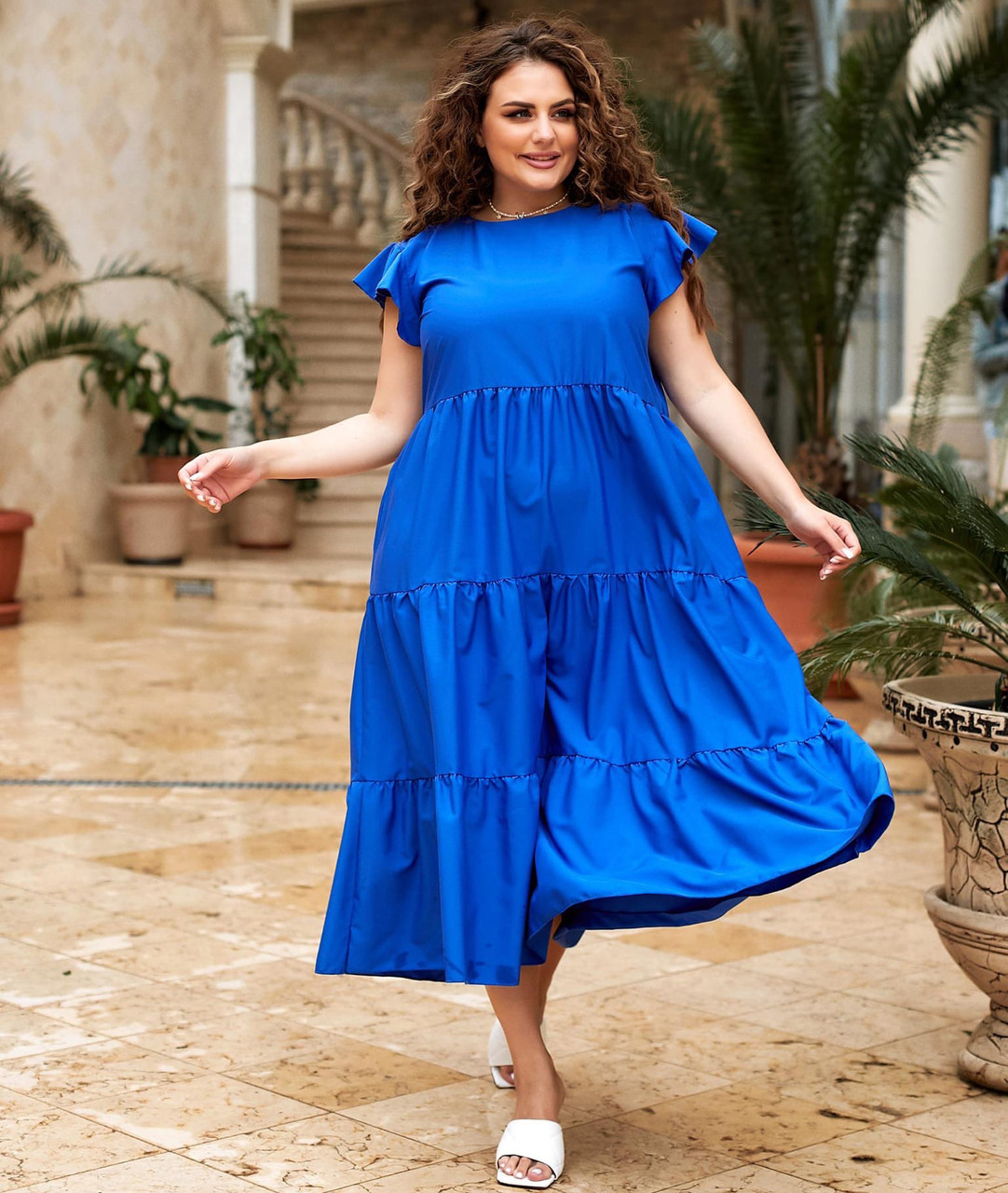 Длинное летнее платье свободного кроя большого размера