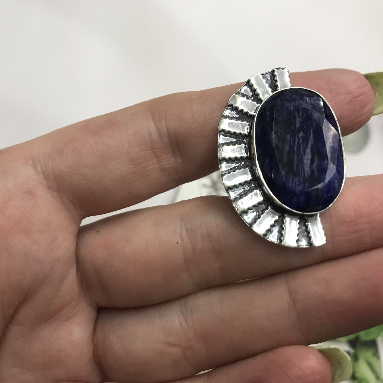 Сапфир кольцо 18 размер кольцо с камнем натуральный сапфир в серебре кольцо с сапфиром.