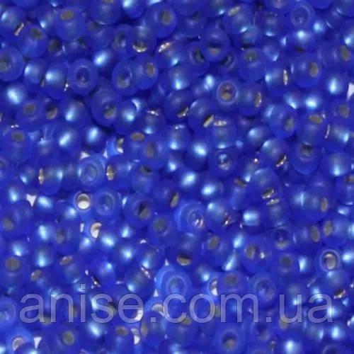 Бісер Preciosa 10/0 кол. 37050, Прозорий з срібною смугою TSL, Синій, Круглий, Матовий